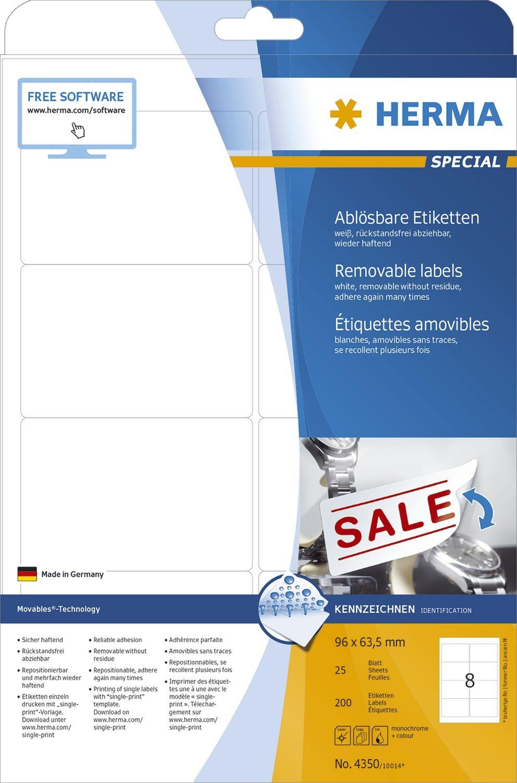 Etiketten A4 weiß 96x63,5 mm Movables//ablösbar Papier matt 200 S